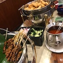 Satay And Fried Spring Rolls