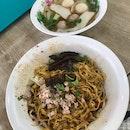 Fishball Mushroom Minced Meat Mee Pok ($4)