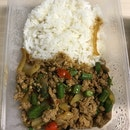 Thai Basil Pork With Rice ($6.50)