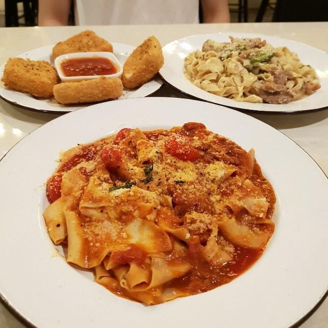 Paparadelle Amatriciana & Tagliatelle Chicken And Avocado