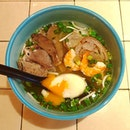 Phnom Penh pork rice noodle and a perfect poached egg in msg-free savoury broth.