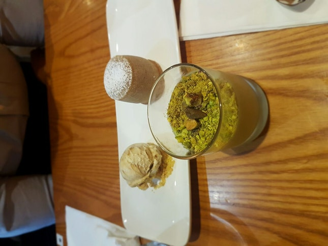 Pistachio Mousse And Salted Caramel Lava Cake
