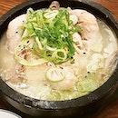 Ginseng chicken (삼계탕).