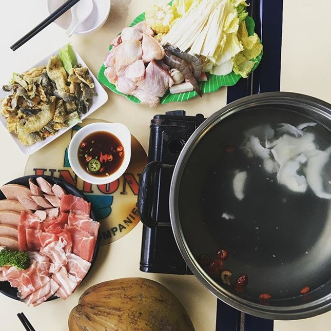 Coconut Steamboat ($37 for about 2 pax - what u see in the picture) at Chicken Legend (15 Upper East Coast Road).