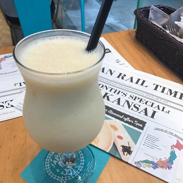 Osaka Summer Smoothie Mix ($6.90) @japanrailcafe a summer beverage commonly found in Osaka - mixed fruit juice blending bananas, oranges, pineapples and for extra creaminess....