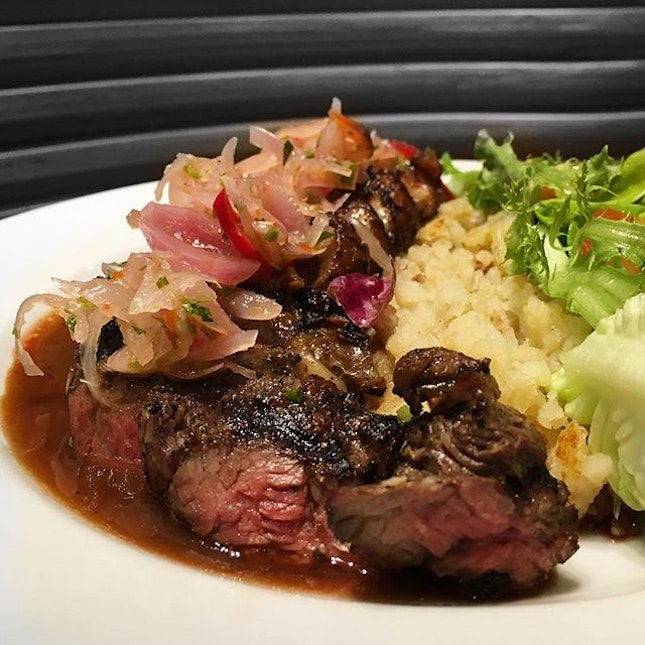 Sirloin steak with chinchalok, another of their fusion dishes here.