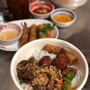 Vermicelli with Grilled Pork and Spring Roll