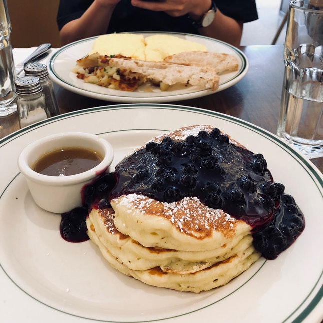 Blueberry Pancakes and Omelette