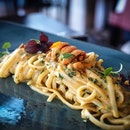 [Lunch at il Cielo @hilton.singapore]Hokkaido Uni Linguine Aglio Olio.