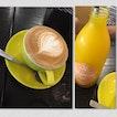 Latte And Cool Pressed Orange Juice
