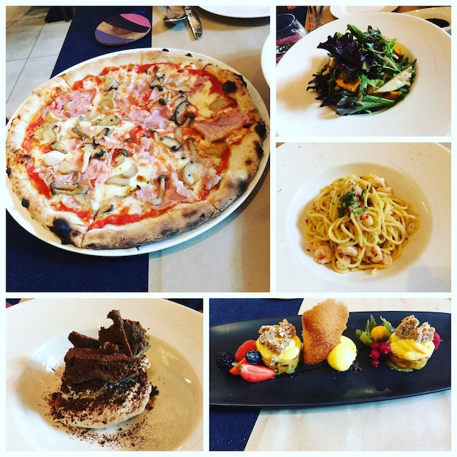 Salad, Pizza, Pasta and Dessert