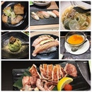 Sushi, Grilled Squid, Udon And Dessert