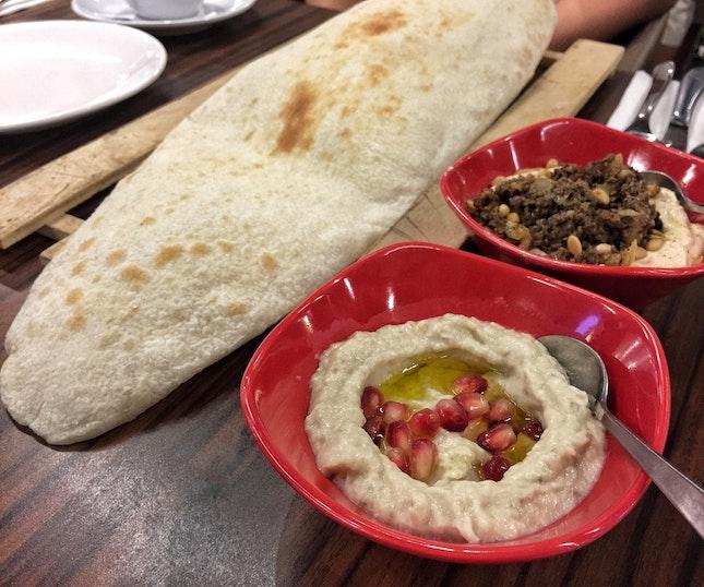 Pita Bread ($4), Hummus Kawerma ($9.90) & Baba Ghanoush ($7)