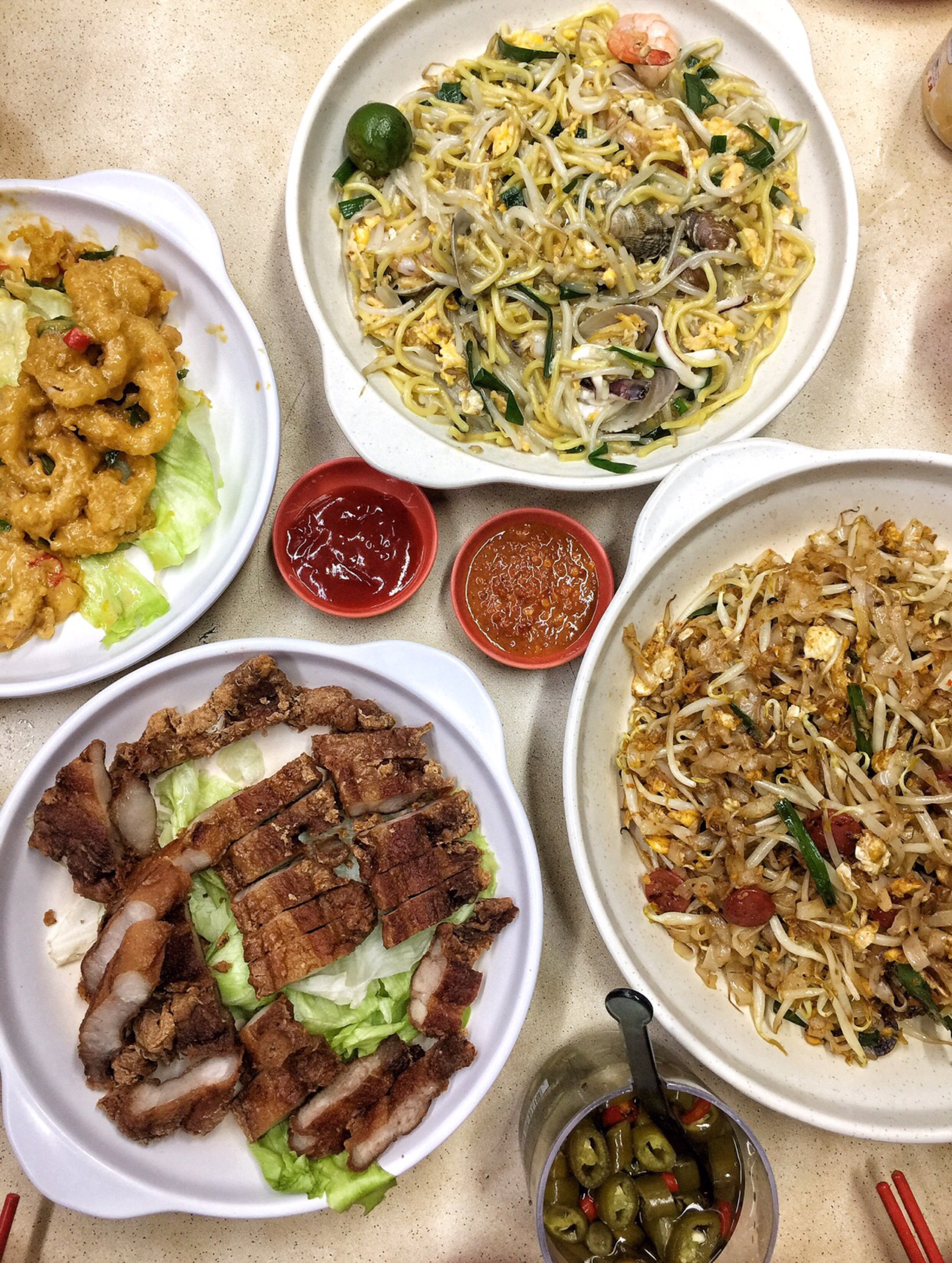 Lala Hokkien Mee ($8) > Penang Fried Kway Teow (from $7.50) + Fermented Pork Belly ($12)