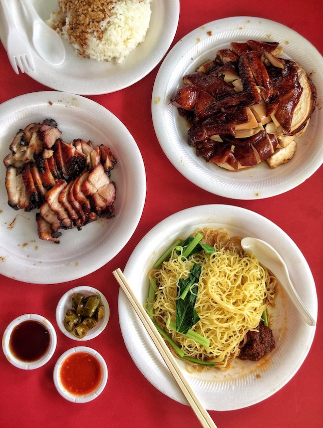 Soy Sauce Chicken ($7 for half) and Char Siew ($6, maximum order 🙁) with Rice and Noodle