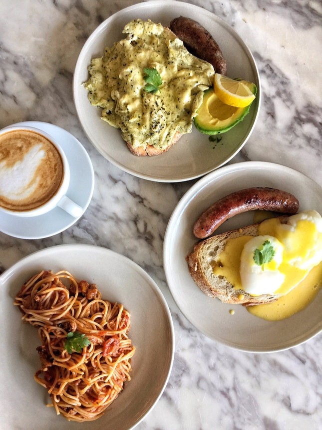 Green Scrambled & Toast ($8, +$2 for 🥑 and $4 for Beef Sausage), Benedict ($8, + $4 for Lamb Sausage) & Beef Bolognese ($9)