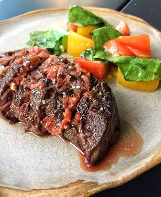 Hanger Steak, Tomato and Hot Sauce ($28)