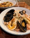 Beetroot & Garlic Fusili, Aglio Olio with Sautéed Prawns and White Wine Vinegared Mussels ($9.90, +$6 for toppings)