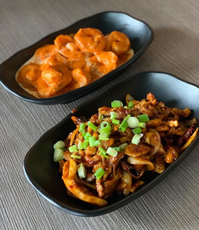 Chicken Cashew Nuts ($9.90) & Prawn Dry Curry ($9.90)