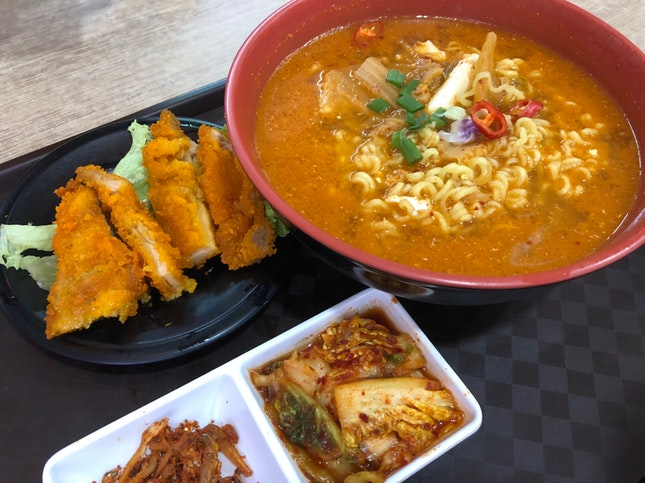 Kimchi Ramyon with Chicken Cutlet
