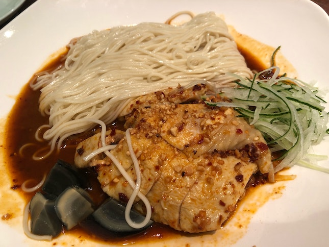 Steamed Chicken and Noodle with Chili Sauce