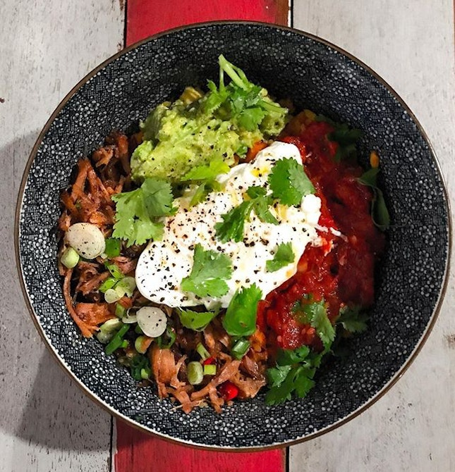 The Hangar - HOSTED TASTING - Healthy Bowls - Pulled Pork Aussie Rice Bowl (💵S$16)  With avocado, spicy baked beans & a soft Poached Egg.