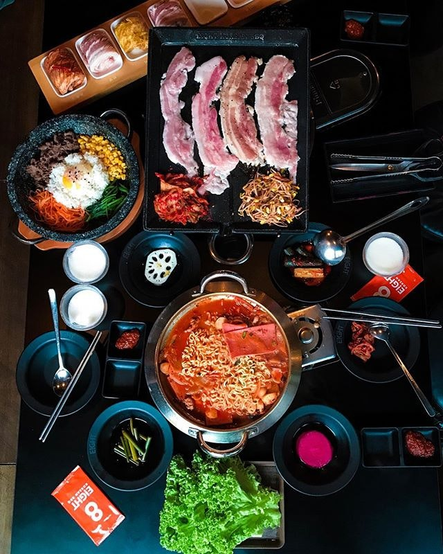 8 EiGHT Korean BBQ - Army Stew (💵S$24) & 8 Colours set of BBQ Pork Belly that features 8 different Flavours (💵S$98) 🥘 • ACAMASEATS💮: Anything stew will satisfy the current cravings brewing while cats & dogs rain upon the shattering windows with the occasional drums of Thor hammering.