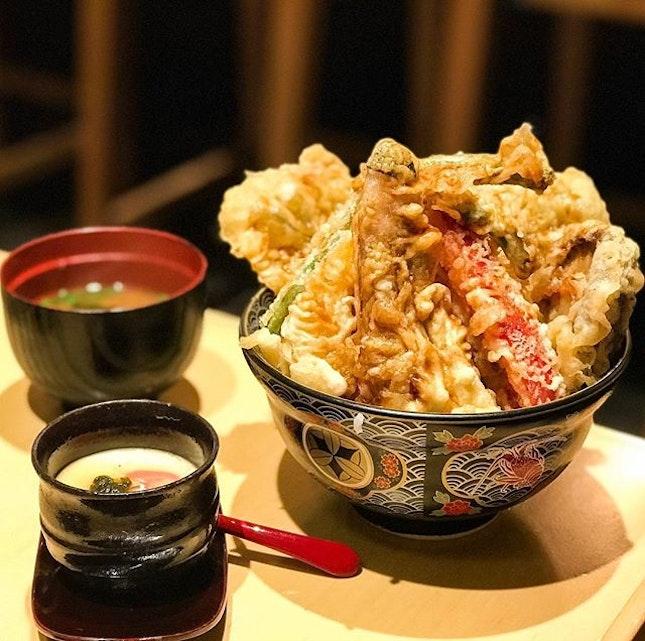 Tendon Ginza Itsuki - Vegetable Tendon 天丼 (💵S$12.90) Pumpkin, Shiitake Mushroom, Lotus Root, Eggplant and Four pieces of various vegetables.