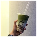 Matcha Latte 🍵⚪️ I went for this matcha latte with 100% sugar.