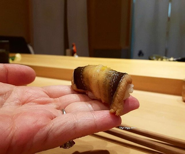 Anago Sushi, part of set menu at a pretty new but authentic Japanese restaurant at Chijmes.