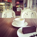 chocolate cake with camomile tea ❤️😘👍🍰☕️ #evertonpark #batterworks