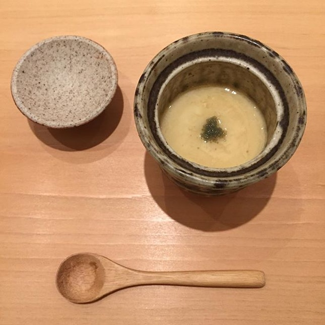 Chawanmushi with Pen Clam Muscle & Botan Shrimp Head Stock at the Ashino x Masuizumi Sake Dinner.