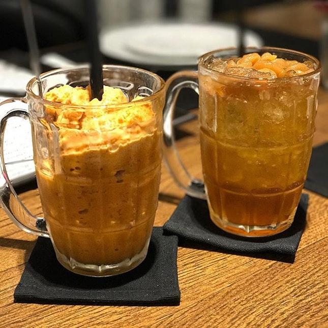 Thai tea granita + longan juice .