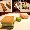 1) Pear and marzipan tart  2) Coconut panna cotta w lemongrass jelly, churros and white chocolate ice cream 3) Singapore breakfast - with peanut butter bread pudding + kaya ice cream 4) Chendol my way - chendol cake, attap seed ice cream, chendol macaron .