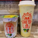 Pretty good new flavours - strawberry foam black tea latte with taro Q and tropical avocado smoothie .