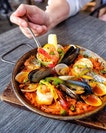 Our paella had squid, sea bass, mussels, clams and shrimp.