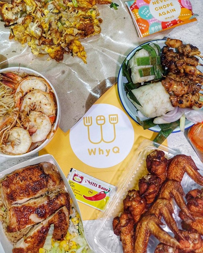 Hawker feasting with @whysg food delivery from Old Airport Road because were too lazy to go out/cook/wait in line 🤭 Got the classics like Albert Street prawn noodle, oyster egg, satay and bbq chicken wings which are our must haves!