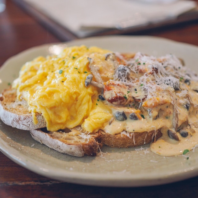 Mushrooms on Sourdough with Scrambled Eggs