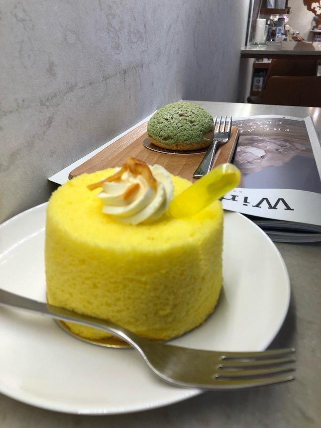 Yuzu chiffon, Matcha Puff & Latte