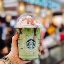 Red Ribbon Green Tea Latte [$7.60]  Raspberry drizzle with green tea latte..