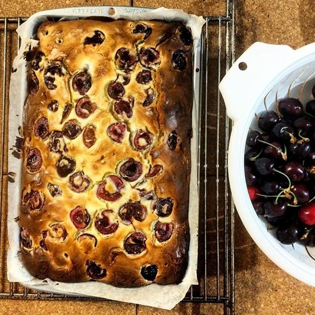 Baked a cake with freshly picked cherries from the farm.