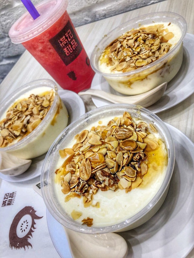 Double Boiled Milk with Baked Walnut and Almond