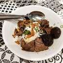 Truffle Aburi Beef ($14.90) | Short Rib Beef, Shiitake Mushroom, Onsen Egg,  Pearl Rice with Homemade Teriyaki Sauce.