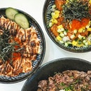 Signature Truffle Wagyu Don (L, $25.90), Mentaiko Salmon Don (L, $23.90), Salmon Don (L, $20.90) | Another great 1-for-1 deal discovered on @burpple Beyond, this time at @rakkibowl!