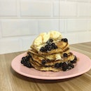 Dirty Pancakes (Homemade) - Pancake stack topped with brown sugar pearls and vanilla ice cream scoop!