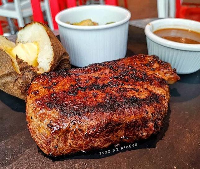 Shiokkkkkk ~~ 350g 🐄🥩🍽 : : #singapore #sg #sgfood #sgfoodies #food #foodie #foodies #burpple #burpplesg #foodporn #foodpornsg #instafood #gourmet #foodstagram #yummy #yum #foodphotography #igsg #sgig #nofilter #saturday #weekend #lunch #beef #ribeye #steak #isteak #starvista #bakedpotato #brusselsprouts