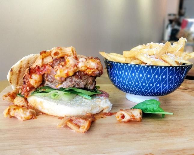 Mac & Cheese Burger + Beef Patty ($16)