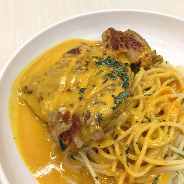 Spaghetti with Grilled Chicken and Salted Egg Yolk Sauce