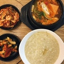 Comfort food 😍 Kimchi Soup with spam & sausage and Abalone Porridge!