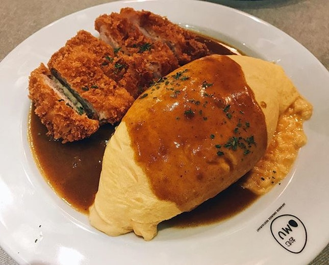 SINGAPORE It's Curry Omu with Pork Cutlet (add Lava egg for $2)!